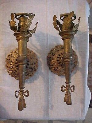Pair of Victorian Torch Electric Solid Brass Single Arm Wall Sconces to Restore