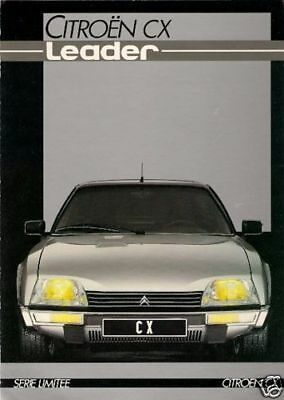 Citroen CX 20 Leader Limited Edition 1984 French market sales Brochure