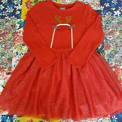 Next Age 2-3 Girls Reindeer Red Tutu Dress Christmas Party Long Sleeved