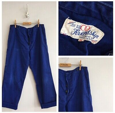 "Vintage Blue Chinese Cotton Chore Workwear Trousers Pants W34"" 35"" M"