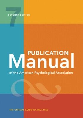 Publication Manual of the American Psychological Association Seventh Ed Spiral