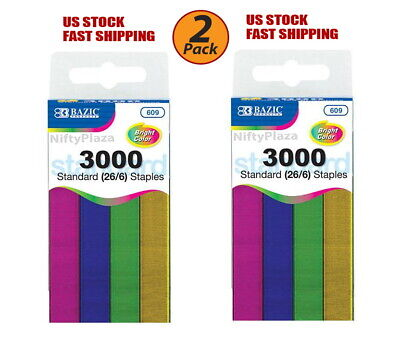 2 Pack - Metallic Color Standard Staples (26/6) 3000 Ct Chisel Point Office etc