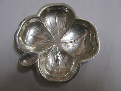 "Lenox Silver Inc Nyc Sterling 4-Leaf Clover Nut / Butter Pat 2 ½"" H V Good Cond"