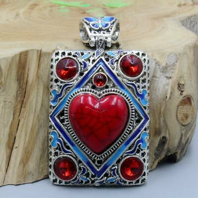 Collect China Handwork Miao Silver Inlay Noble Red Agate Bring Good Luck Pendant