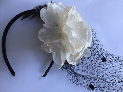 Headband With Flower, Feather And Veil, Henna Party, Bridesmaids, Halloween, New