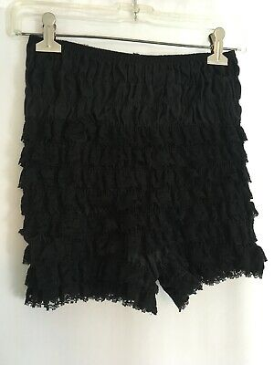 Vintage Malco Modes Sexy Ruffle Panties Pettipant Bloomers Black USA Made Small