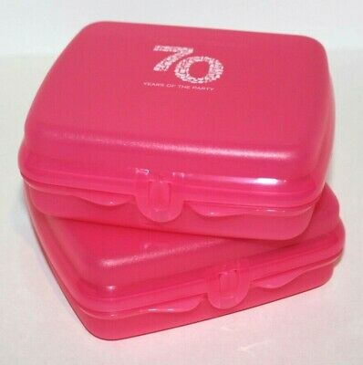 Tupperware Sandwich Keepers Set of 2 Pink Lunch Boxes 70 Years of the Party