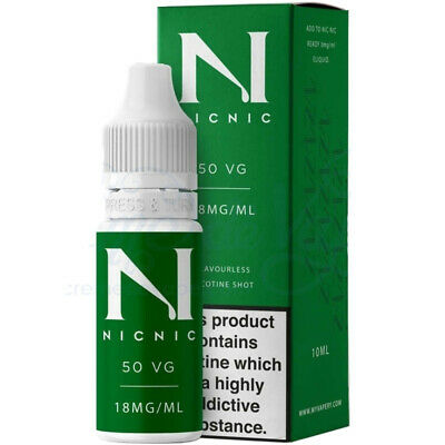 Nicotine Shots 18mg by NicNic Nic Shots 100VG 70%VG or 50/50VG in 10ml bottles