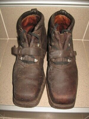 Antique Old Original Alpine Mountain Ski Leather Boots Shoes 1940s