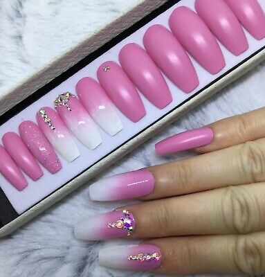 Candyfloss Ombre False Fake Extra Long Coffin Nails Set