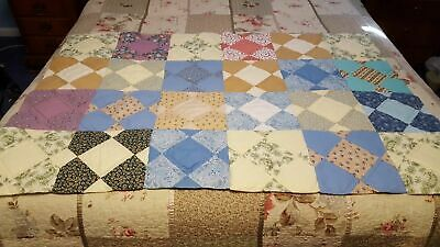 """Baby Quilt 35"""" x 55"""" HAND QUILTED nicely done! Pastels FREE SHIPPING"""