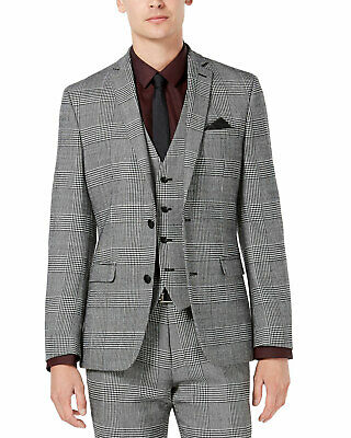 Bar III Mens Slim-Fit Plaid Suit Separate Jacket 40 Long Black/White