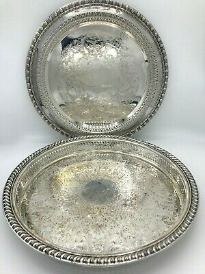 2 - Wm Rogers Flower Pierced Victorian Silver Plated Tray 671 + 1770 Platter