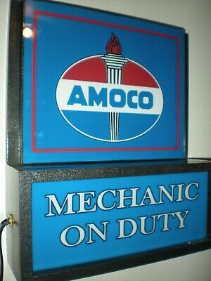 Amoco Oil Gas Station Garage Man Cave Advertising Lighted Sign