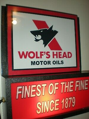 Wolf's Head Oil Gas Station Garage Man Cave Advertising Lighted Sign