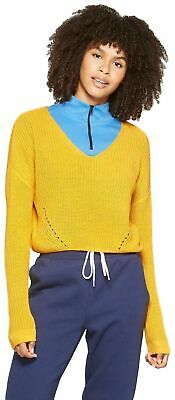 Wild Fable Women's Long Sleeve Pullover V-Neck Sweater (Large, Fig Yellow)