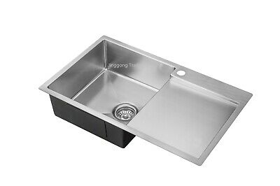 #304 Handmade Stainless Steel Kitchen Sink Single Bowl with Drainer (750x 450mm)