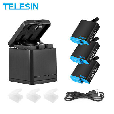 TELESIN  For Gopro Hero 5 6 7 3 slots travel charging box charger & 2 battery