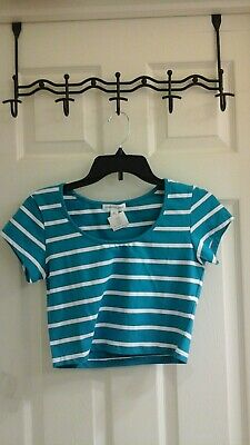 NWOT AMBIANCE APPAREL JUNIORS BLUE WITH WHITE STRIPE CROP TOP SIZE LARGE