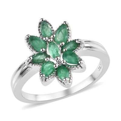 925 Sterling Silver Marquise Emerald Flower Ring Jewelry for Women Size 8 Ct 1.5