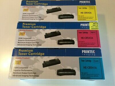 (3) Compatible Toner Cartridges HE-CB541A to HE-CB543A