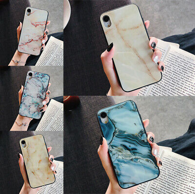 Case For iPhone 7 8 6s XR XS MAX Luxury Frozen Marble Tempered Glass Phone Cover