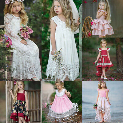 Toddler Baby Kids Girls Flower Wedding Princess Lace Tutu Dress Party Bridesmaid