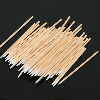 100 x Microblading Cosmetic Application Wooden Cotton Medical Swabs Sticks