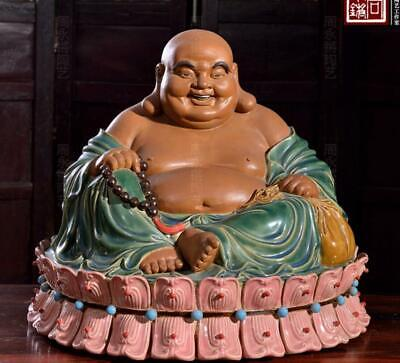 "16"" Chinese Ceramics Porcelain Happy Laugh Maitreya Buddha Seat Lotus Statue"