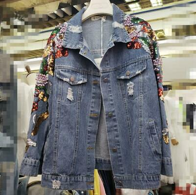 Womens Ladies Fashion Sequin Beaded Ripped Denim Loose Jacket Coat Outwear