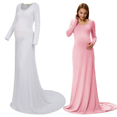 Pregnant Maternity Women Comfy Long Sleeve High Stretchy Evening Dress Gown