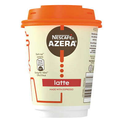 Nescafe Azera To Go Coffee Latte Cup and Lids Pack 6 Food Drink Supplies