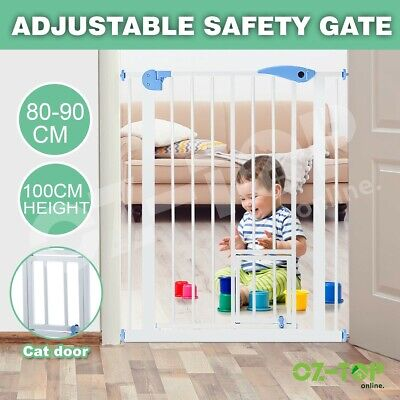100cm Tall Baby Safety Security Gate Pet Dog Stair Barrier Cat Door Adjustable