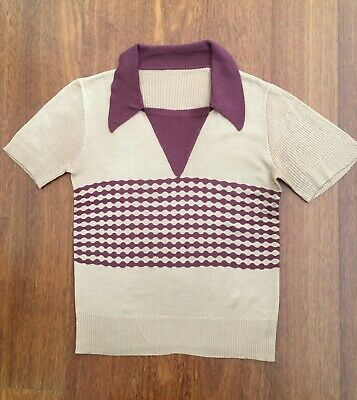 Men's Vintage Knited Top With Collar Circa 1970'S Size M