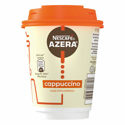 Nescafe Azera To Go Coffee Cappuccino Cup and Lids Pack 6 Food Drink Supplies