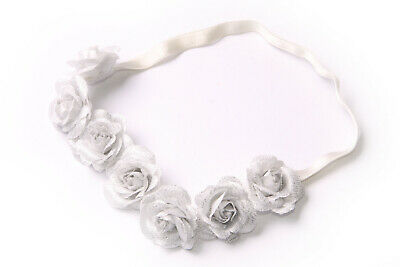 White Elastic Headband Glittery Silver Colour Flowers Party Costume Detail(S620)