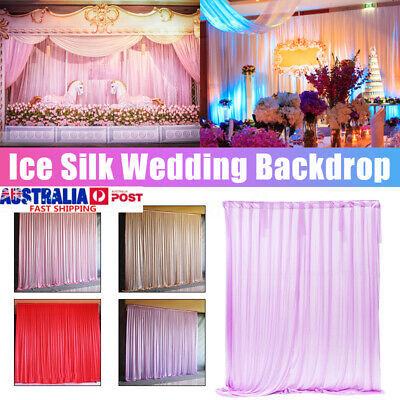 2.4M Ice Silk Cloth Curtain Drapes Stage Backdrop Wedding Party Background Decor