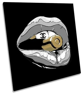 Lips Bullet Coco Chanel Picture CANVAS WALL ART Square Print Grey
