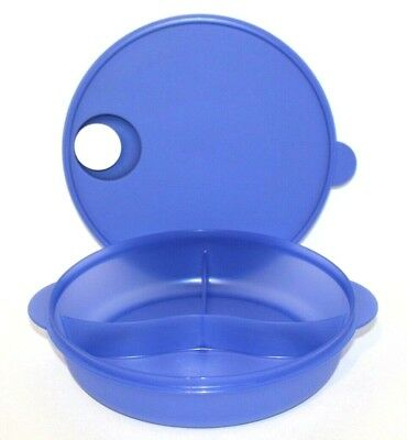 """Tupperware CrystalWave Divided Dish Round 10"""" Large Dinner Tray Purple/Blue"""