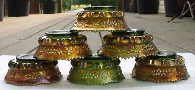 """NORTHWOOD  """"GRAPE & CABLE""""  GREEN CARNIVAL GLASS set (6) BERRY BOWLS"""