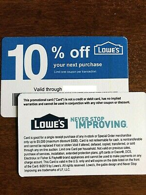 (20x) GUARANTEED 10% Off HOME DEPOT ONLY JANUARY 2020 Blue Discount Cards Lowes