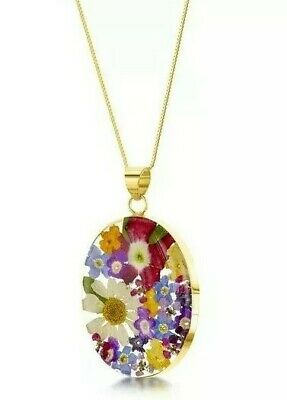 23K Gold Plated Necklace Handmade With Real Flowers Mixed Flowers Oval Large