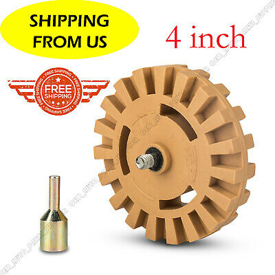 """New Decal Removal Eraser Wheel w/ Power Drill Arbor Adapter 4"""" Rubber Pinstripe"""