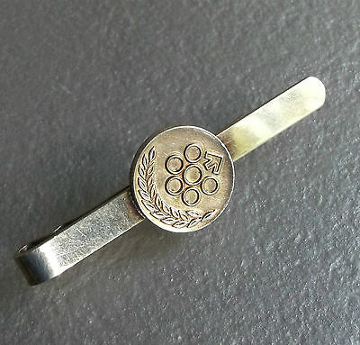 Vintage Tie Clasp Clip MENS Tack Pin 1970s 9CT GOLD ON SILVER