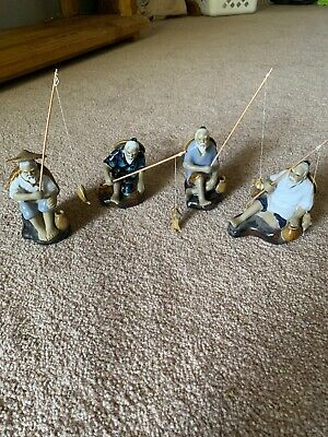 RARE Antique Chinese Fisherman Figurines