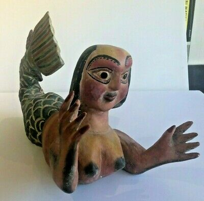 FABULOUS VINTAGE Hand Carved Wooden Mermaid-Folk Art, Hand painted