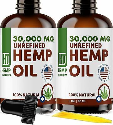 2 Pack  Hemp Oil Extract For Pain Relief Anxiety, Sleep 30000 mg
