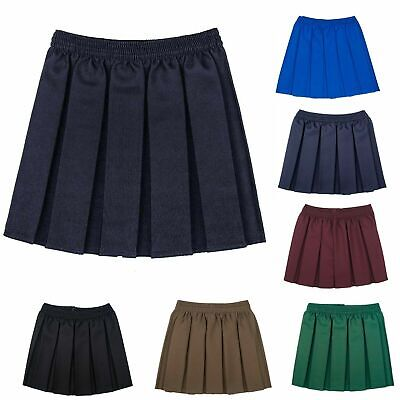 Girls School Skirts Box Pleated Elasticated Waist Skirts Kids School Uniform UK