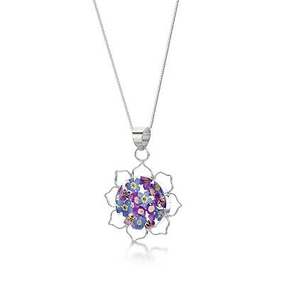 23K Gold Plated Necklace Handmade With Real Flowers In Resin Purple Haze Lotus