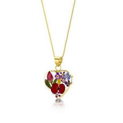 23K Gold Plated Necklace Handmade With Real Flowers Mixed Flowers  Heart Medium